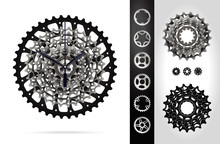 Bicycle Cassette Mountain Bike. Rear Bicycle Sprocket. Realistic Vector. Clock Design.