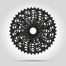 Bicycle Cassette Mountain Bike. Rear Bicycle Sprocket. Realistic Vector. Chain Ring Crankset With Chain. Motorcycle Chain.