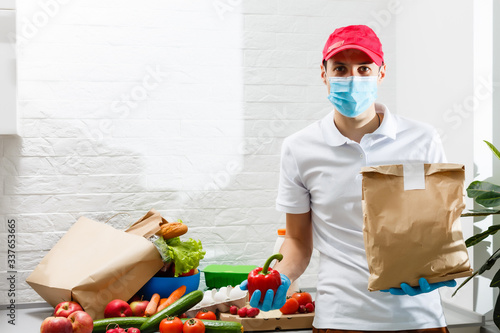 Fotomural Man with fresh products at table indoors, closeup