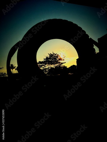 Fototapety, obrazy: Silhouette Trees Against Clear Sky During Sunset