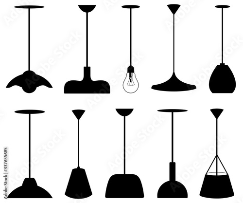 Obraz na plátně Collection of different pendant lamps isolated on white