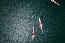 Overhead View Of Dragon Boat Races On A Lake