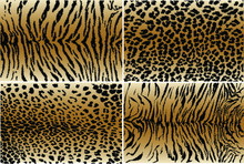 Vector Illustration Set Of Animal Seamless Prints. Tiger And Leopard Patterns Collection.