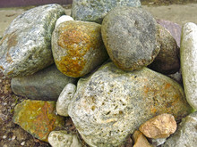 Large Stones Boulders Lie In A Heap