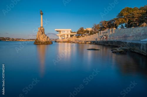 Fototapeta Monument to the scuttled ships at sunset
