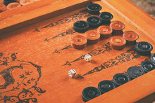 Old Wooden Backgammon Board Game