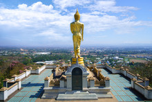 The Golden Buddha Statue And The Viewpoint Of Nan City , Thailand