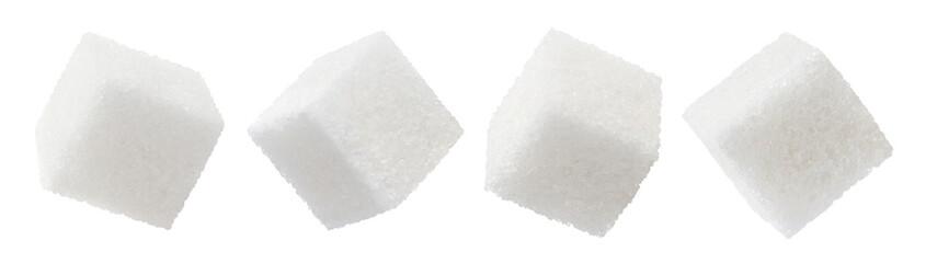 Set of white sugar cubes, isolated on white background