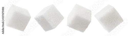 Obraz na plátně Set of white sugar cubes, isolated on white background