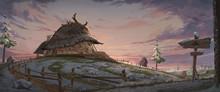 A  Digital Illustration Scenery Of The Small Farmer Hut.