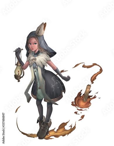 Valokuva A cute digital illustration of fantasy female priest character design