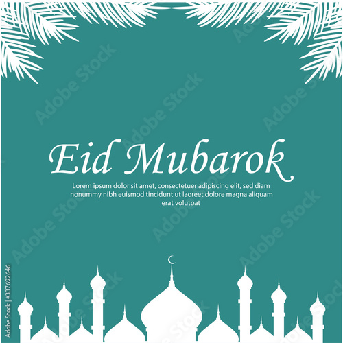 Beautiful eid mubarak with mosque and leaf background design vector Canvas Print