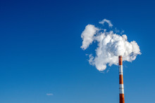 Pipe Of White Smoke, Three In A Row In The Blue Sky. Emission Of Steam And Smoke Into The Atmosphere. Space For Text, Copy Space