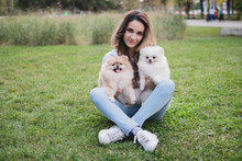 A Young Pretty Woman Sits On The Green Grass And Holds Her Beloved Pomeranian Dogs. Spring Day. Two Pomeranian Dogs With Their Owner  On A Walk. Selective Focus.