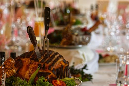 Fototapeta Swiąteczny stół, szynka, Święta wielkanocne obraz