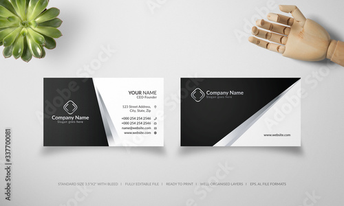 Slika na platnu Silver and black business card. Visiting card vector template