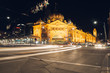 Flinders street station Melbourne at night