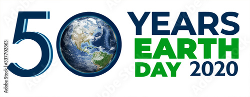 Fototapeta Earth Day Big Poster, 50 years old, the inscription on the poster on the background of the planet with space. Elements of this image were furnished by NASA. obraz