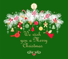 Christmas Wreath With Fir Tree...