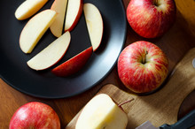 High Angle View Of Apple Slices In Plate