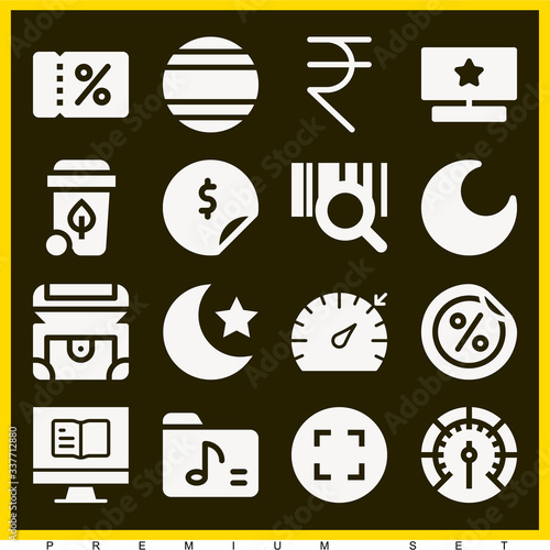 Set of 16 ample filled icons Canvas Print