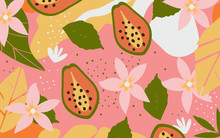 Colorful Flowers And Leaves Poster Background Vector Illustration. Exotic Plants, Branches, Flowers, Leaves And Papaya Art Print For Fashion And Natural Products, Spa, Wellness, Weddings And Events