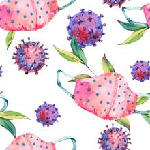 Watercolor Medical Pink Masks Seamless Pattern , Medical Equipment