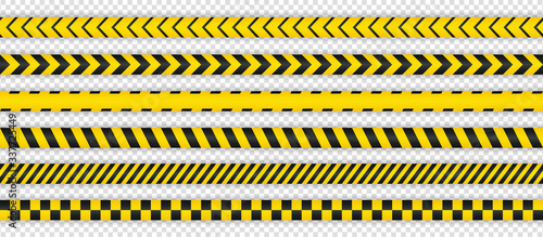 Photo Black and yellow seamless warning stripe line pack