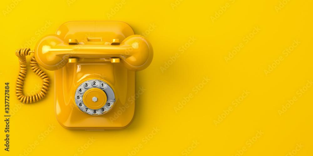 Fototapeta vintage yellow telephone on yellow background. 3d illustration