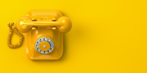 vintage yellow telephone on yellow background. 3d illustration