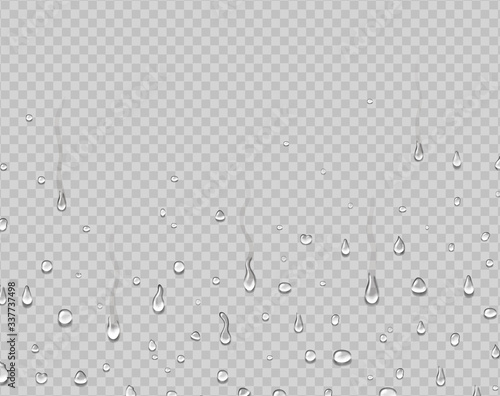 Obraz Realistic water droplets on glass. Rain drops condensed on window. Dew falls, steam shower background. - fototapety do salonu