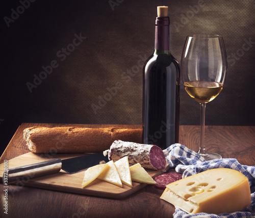 Fototapeta Still life with cheese and wine obraz