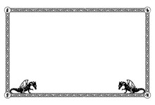 Square Medieval Frame With Floral Elements And Dragons In The Corners. Can Represent The Middle Ages, A Fantasy Tale Or Game, An Ancient Manuscript, Heraldry, Etc.