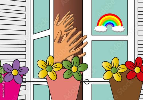 Aplausos en los balcones durante la crisis del corona virus Canvas Print