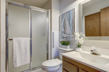 Bright Rambler Home Bathroom Interior With Older Style Cabinets And Blue Accents In Decor.