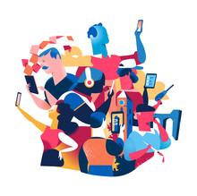 Persone Con Cellulari E Tablet. Società Contemporanea E Stile Di Vita Digitale E Tecnologico
