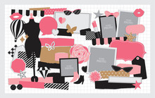 Fashion Stuff Vector Set For Scrapbook Or Collage Artwork.