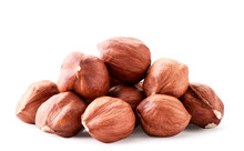 A Pile Of Hazelnuts Closeup On...