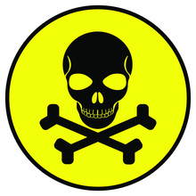 Skull And Crossbones On Yellow  Button, Vector