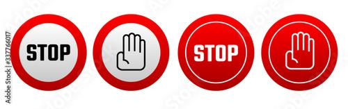 Fototapeta Red stop sign. Vector icon obraz