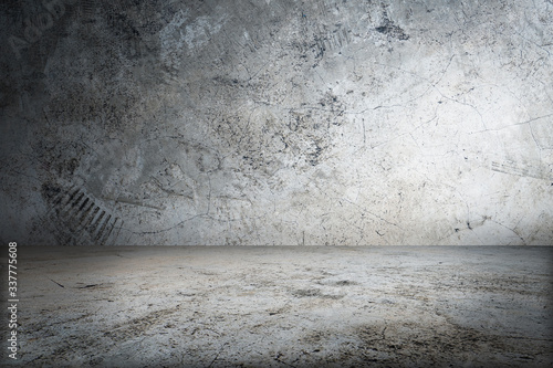 Obraz 3D rendering of Concrete Wall Room with Floor Empty Garage Interior Background - fototapety do salonu