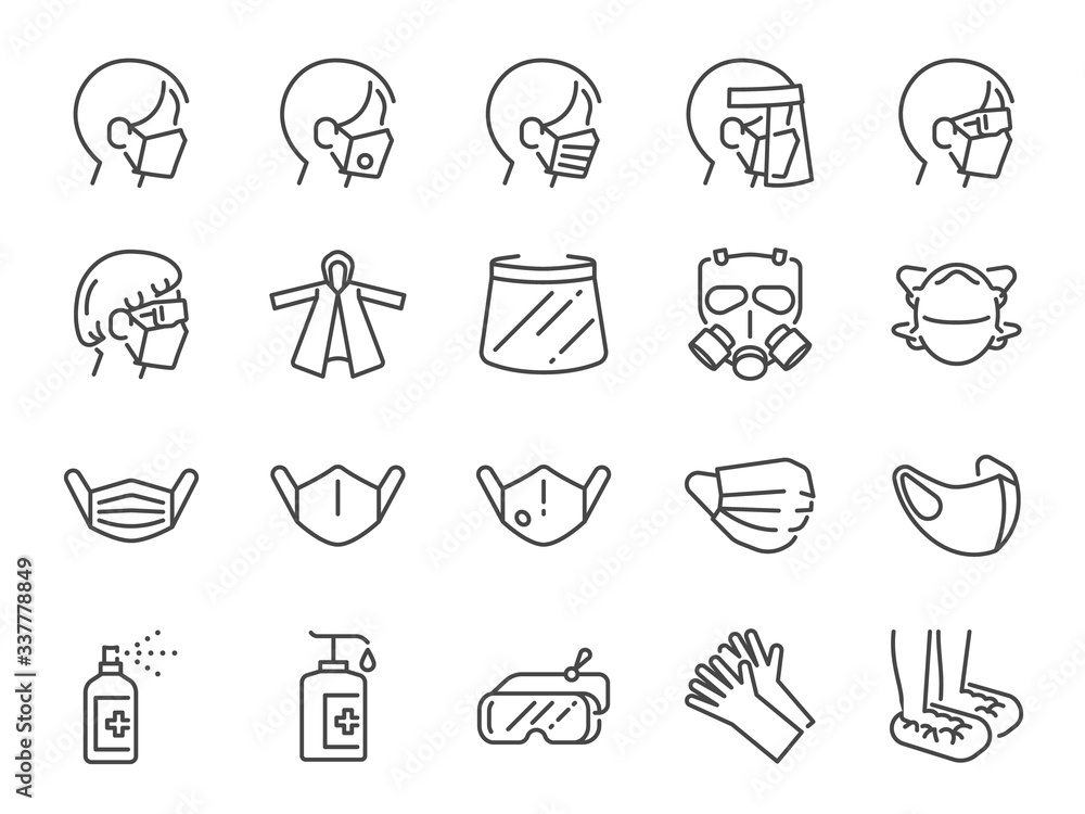 Fototapeta Covid-19 protection equipments line icon set. Included icons as face mask, 3d mask, face shield, goggles,alcohol gel, ppe suite and more.