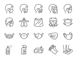 Covid-19 protection equipments line icon set. Included icons as face mask, 3d mask, face shield, goggles,alcohol gel, ppe suite and more.