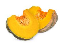 Slice Pumpkin Isolated On Whit...