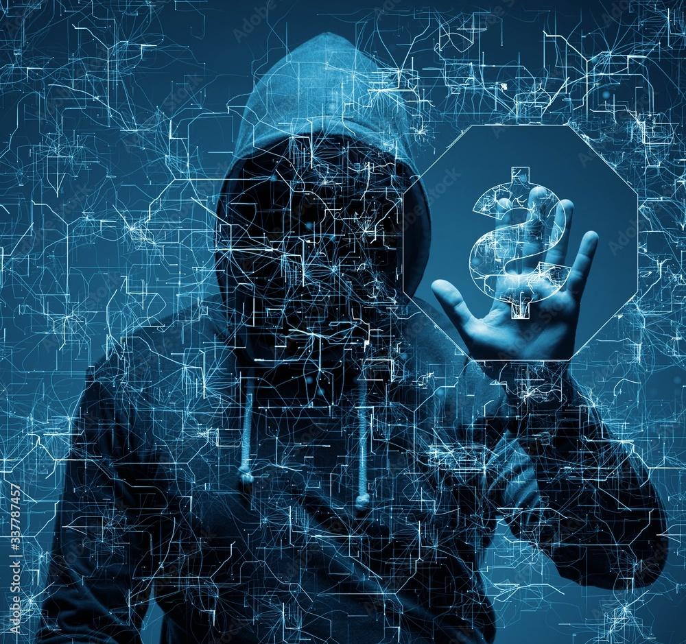 Fototapeta Hacker stealing dollars from bank
