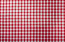 Red Checkered Fabric Tablecloth As Background