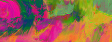 Abstract Acrylic And Watercolor Smear Blot Painting. Saturated Color Horizontal Texture Background.