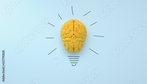 yellow brain on blue clear background yellow brain on blue clear background, con Fototapet