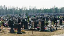 Tombstones In The Public Cemetery. Coronavirus Concept.