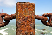 Closeup Of Rusted Post Of Old Chain Link Fence